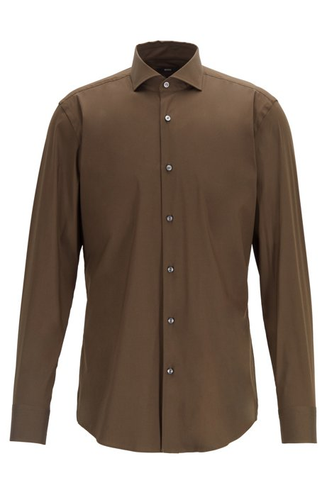 Travel Line slim-fit shirt in a stretch cotton blend, Open Green