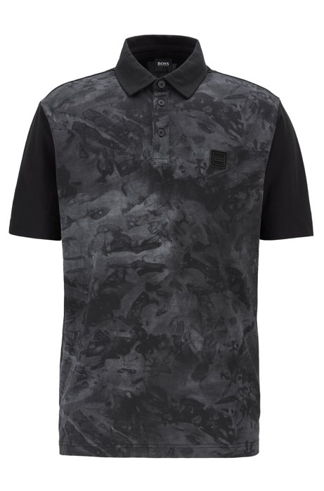 Honeycomb-jersey polo shirt with water-based print front, Black