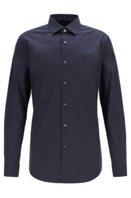 Travel Line extra-slim-fit shirt in stretch poplin, Dark Blue