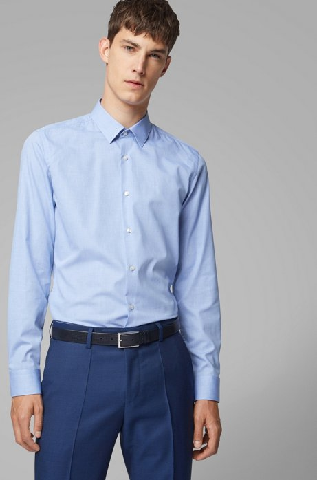 Slim-fit shirt in micro-structured stretch cotton, Blue