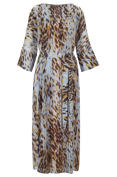 Long-length dress in animal print with plissé pleats, Patterned