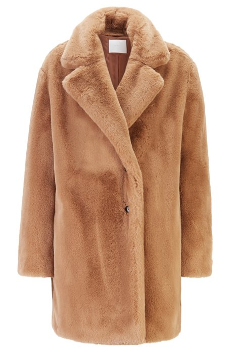 Oversized-fit double-breasted coat in faux fur, Light Brown