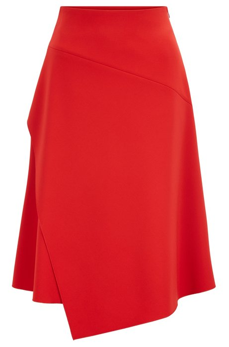 Regular-fit high-waisted skirt with layered front, Red