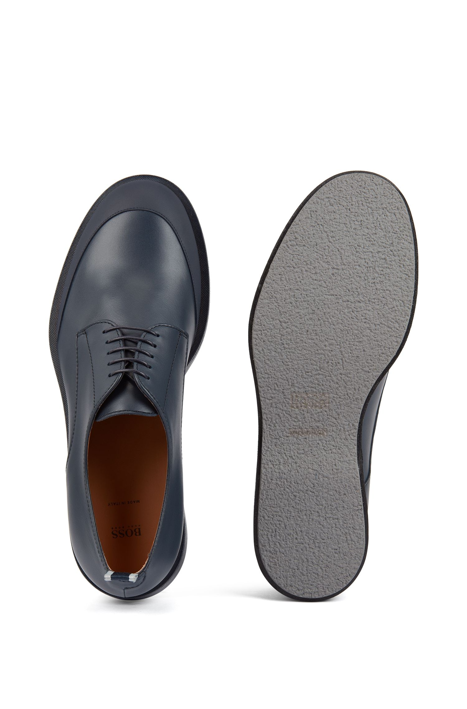 Derby shoes in polished leather with EVA-rubber outsole, Dark Blue