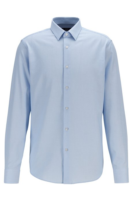 Regular-fit shirt in micro-structured cotton, Light Blue