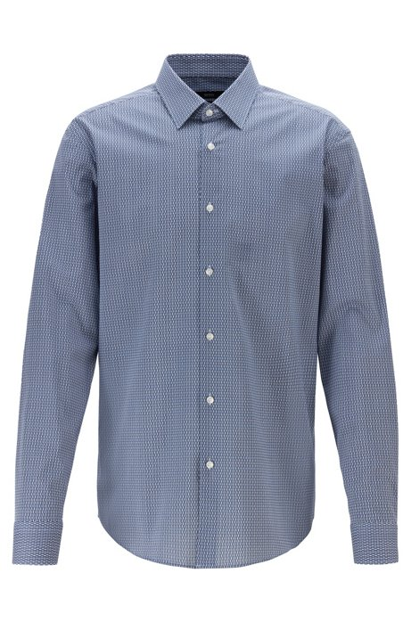 Regular-fit shirt with two-colored geometric print, Dark Blue