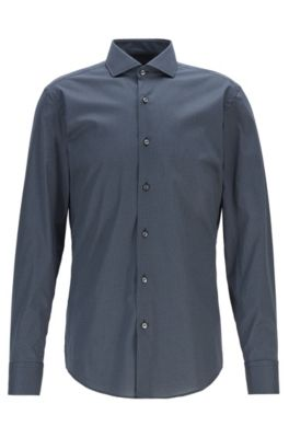 Slim-fit shirt in Italian cotton with motif print, Dark Blue
