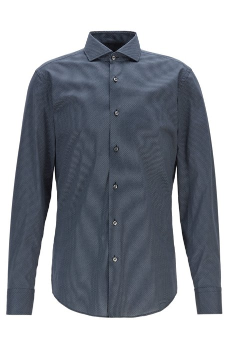 Slim-fit shirt in Italian cotton with motif print, Dark Blue