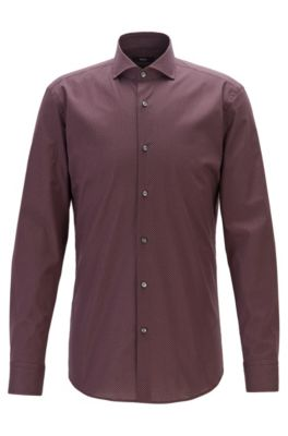Slim-fit shirt in Italian cotton with motif print, Dark Red