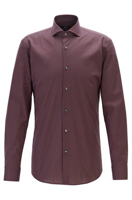 Slim-fit shirt in Italian cotton with motif print, Dark Red