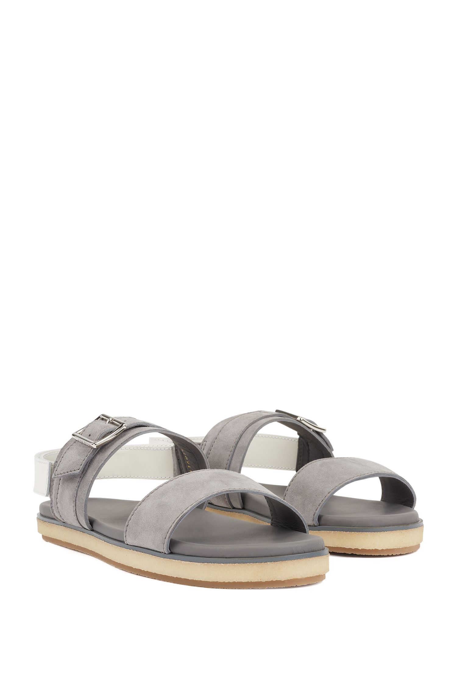 Sandals with suede straps and touch-fastening closure, Grey