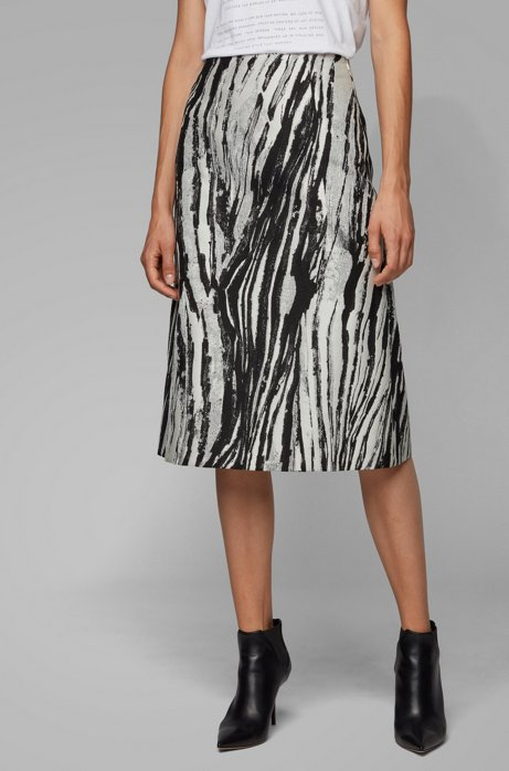 Regular-fit A-line skirt in Italian jacquard, Patterned