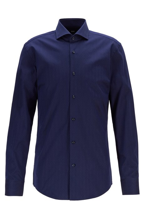 Slim-fit shirt in herringbone cotton with micro dots, Dark Blue