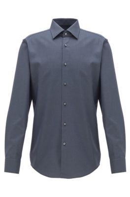 Slim-fit shirt in cotton with two-tone micro check, Dark Grey