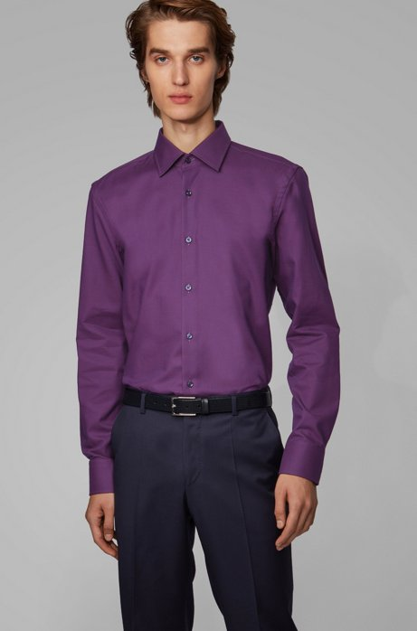 Slim-fit shirt in cotton with two-tone micro check, Dark Red