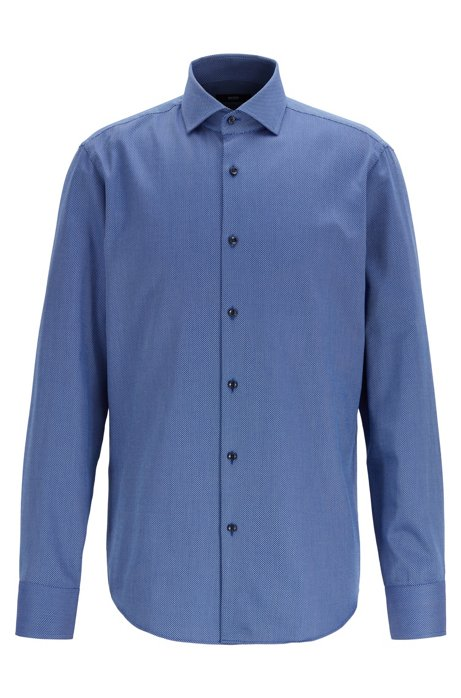 Regular-fit shirt in two-colored cotton twill, Dark Blue