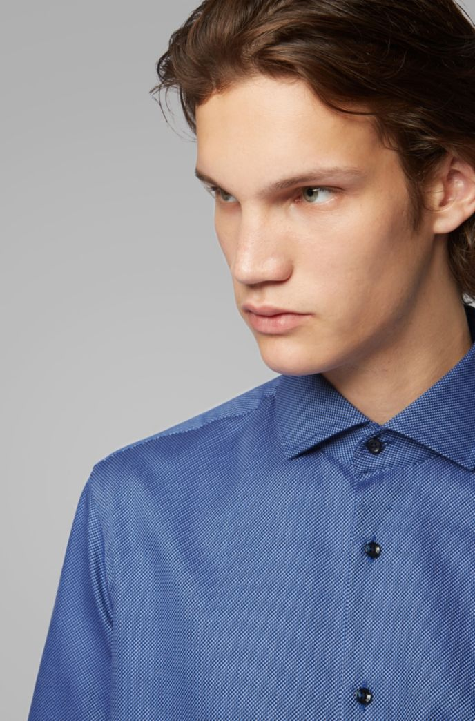 Regular-fit shirt in two-colored cotton twill