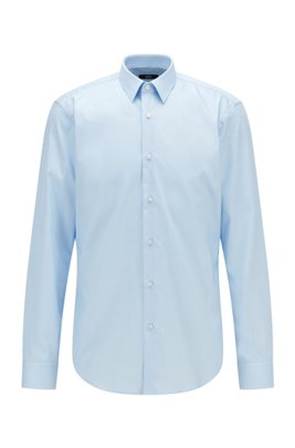 Regular-fit shirt in easy-iron cotton, Light Blue