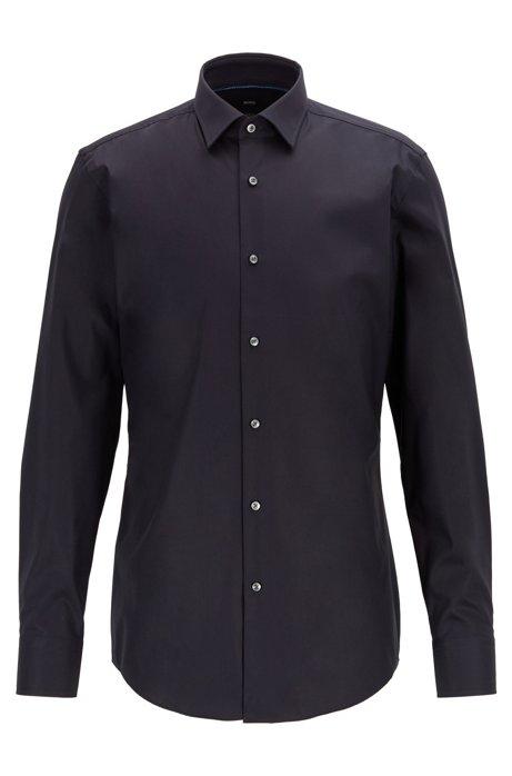 Slim-fit shirt in easy-iron Austrian cotton, Dark Blue