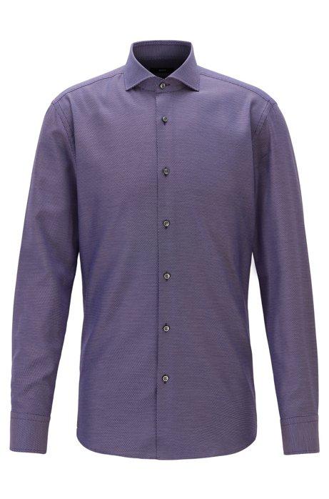 Slim-fit shirt in micro-structured cotton twill, Dark Red