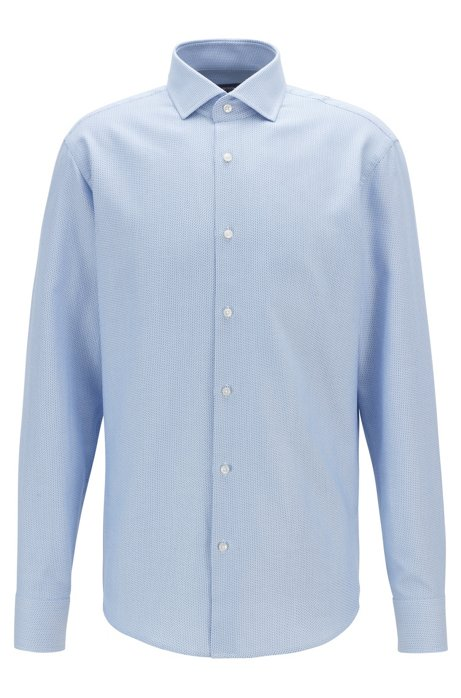 Regular-fit shirt in Italian two-colored twill, Light Blue
