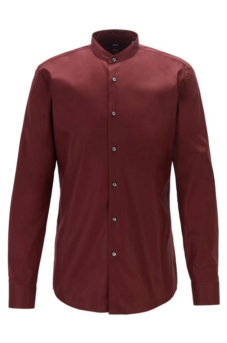 Slim-fit shirt in easy-iron cotton with stand collar, Dark Red