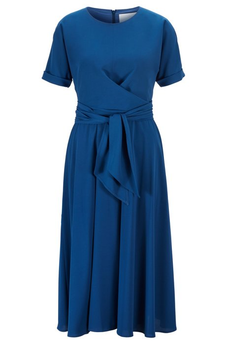 Lightweight wrap-front dress in stretch crinkle crepe, Blue