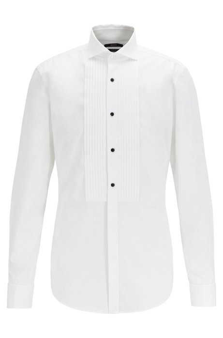 Slim-fit evening shirt with easy-iron finishing, White