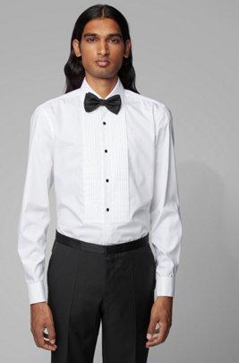 Slim-fit evening shirt with easy-iron finishing, White