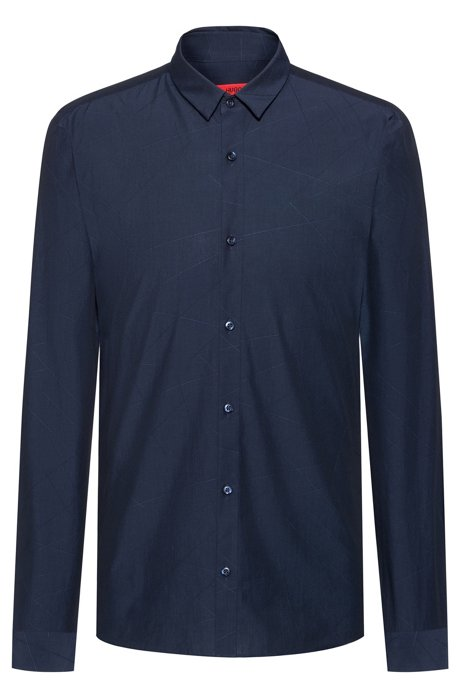 Extra-slim-fit shirt with jacquard-woven pattern, Dark Blue