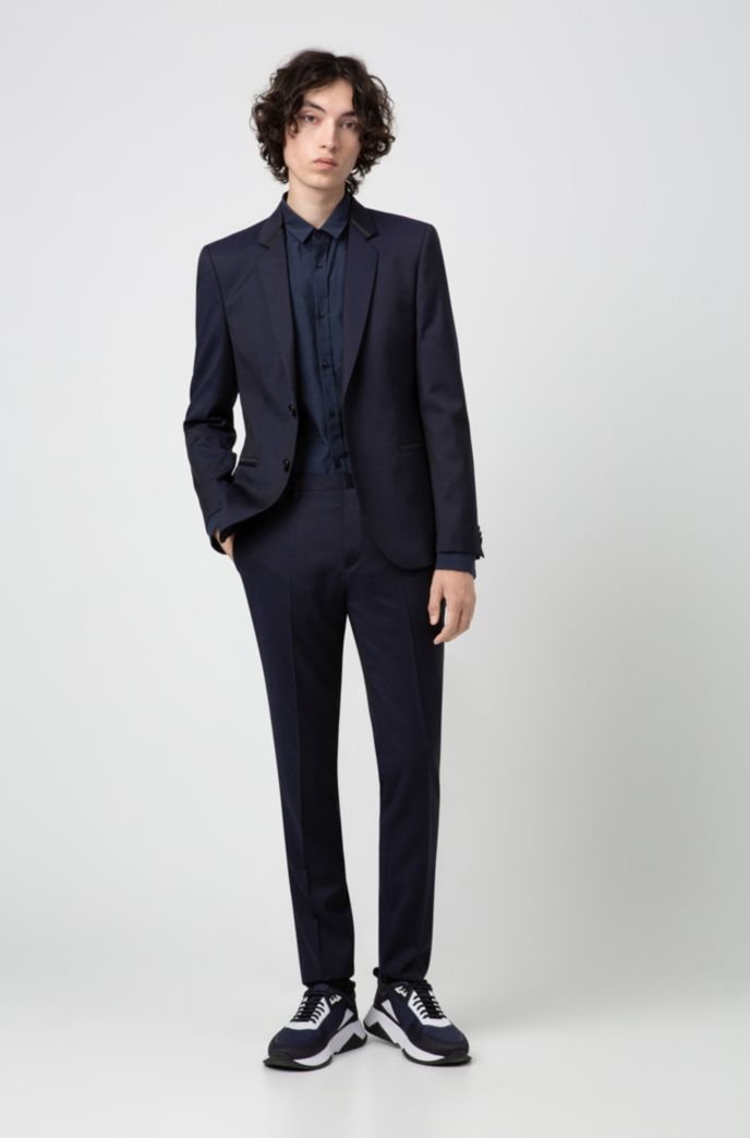 Extra-slim-fit shirt with jacquard-woven pattern