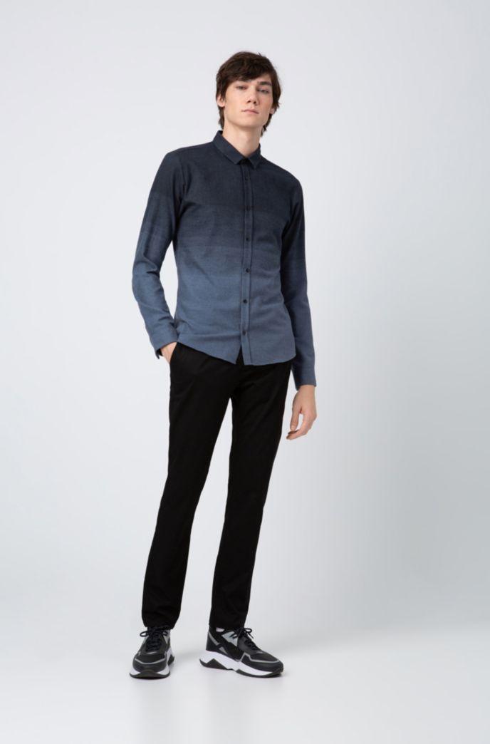 Extra-slim-fit cotton shirt in degradé jacquard