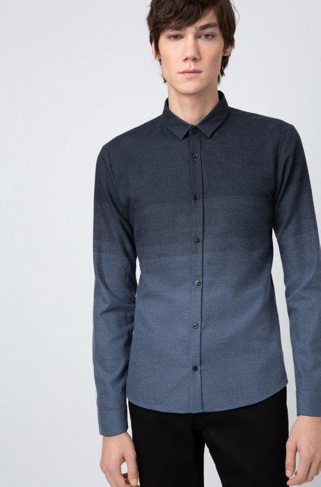 Extra-slim-fit cotton shirt in degradé jacquard, Blue