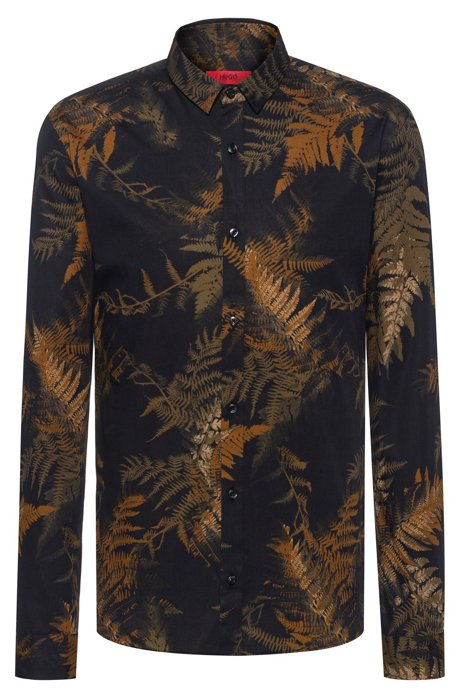 Extra-slim-fit shirt in leaf-print cotton, Black