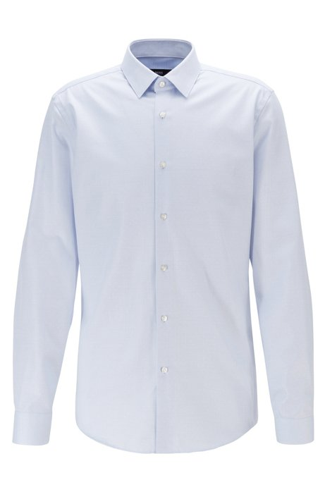 Slim-fit shirt in cotton with aloe vera finishing, Light Blue