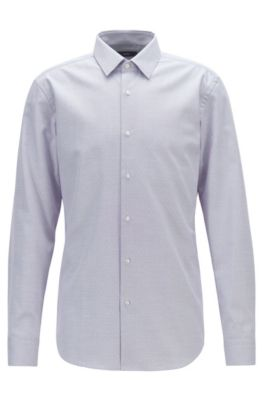 Slim-fit shirt in cotton with aloe vera finishing, Purple