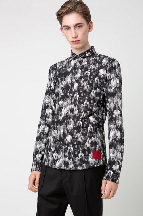 Extra-slim-fit shirt with printed crowd scene, Black