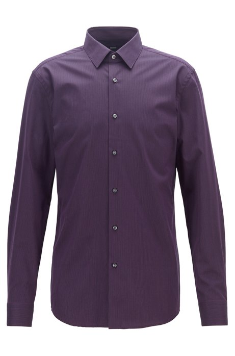 Slim-fit shirt in cotton with aloe vera finishing, Dark Purple
