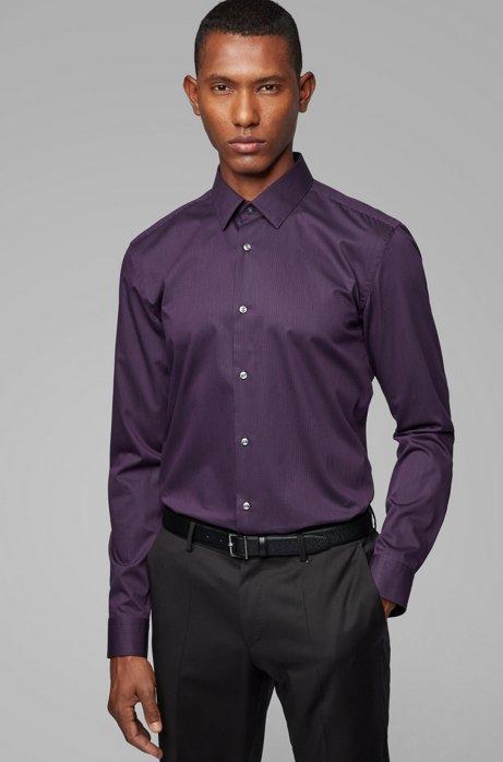 Slim-fit shirt in cotton with aloe vera finishing, Dark Purple