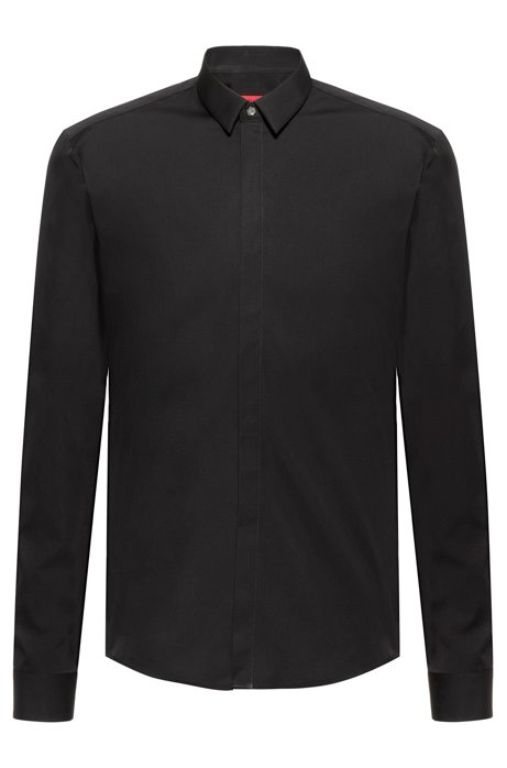 Extra-slim-fit shirt with concealed placket, Black