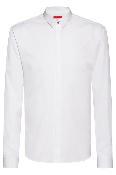 Extra-slim-fit shirt with concealed placket, Open White