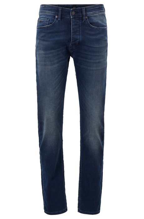 Tapered-fit jeans in dark-blue knit, Dark Blue