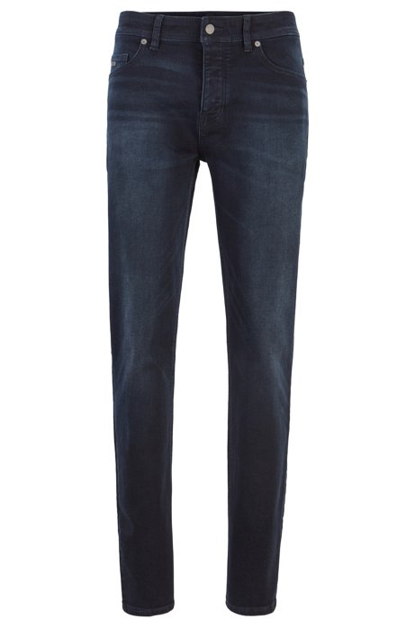 Tapered-fit jeans in super-stretch gray-cast denim, Dark Blue
