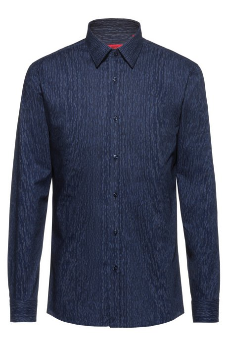 Extra-slim-fit cotton shirt with digital print, Blue