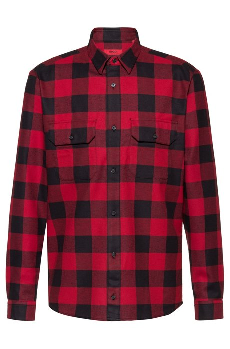 Relaxed-fit shirt in checked flannel with chest pockets, Open Pink