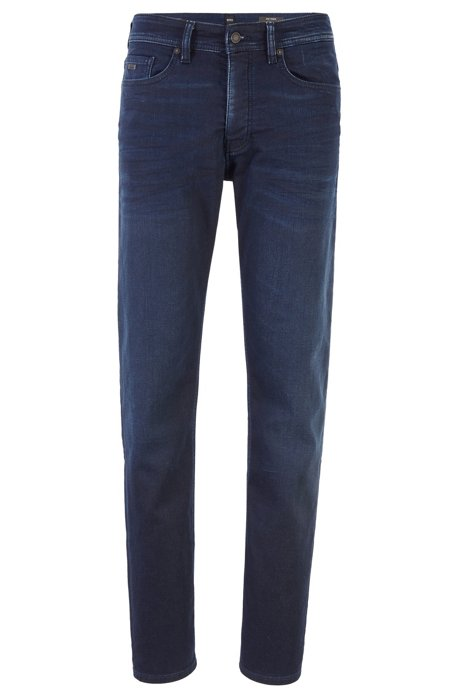 Tapered-fit jeans in faded dark-blue knitted denim, Dark Blue