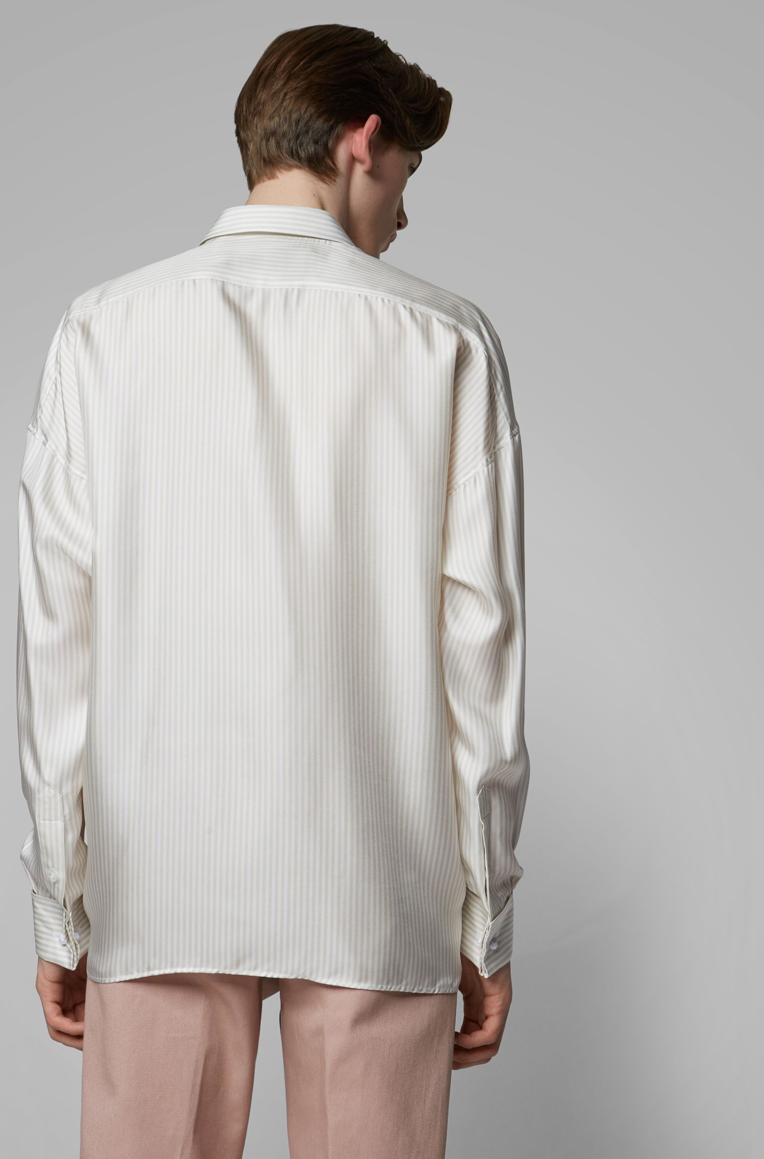 Fashion Show relaxed-fit shirt in striped Italian silk, Natural