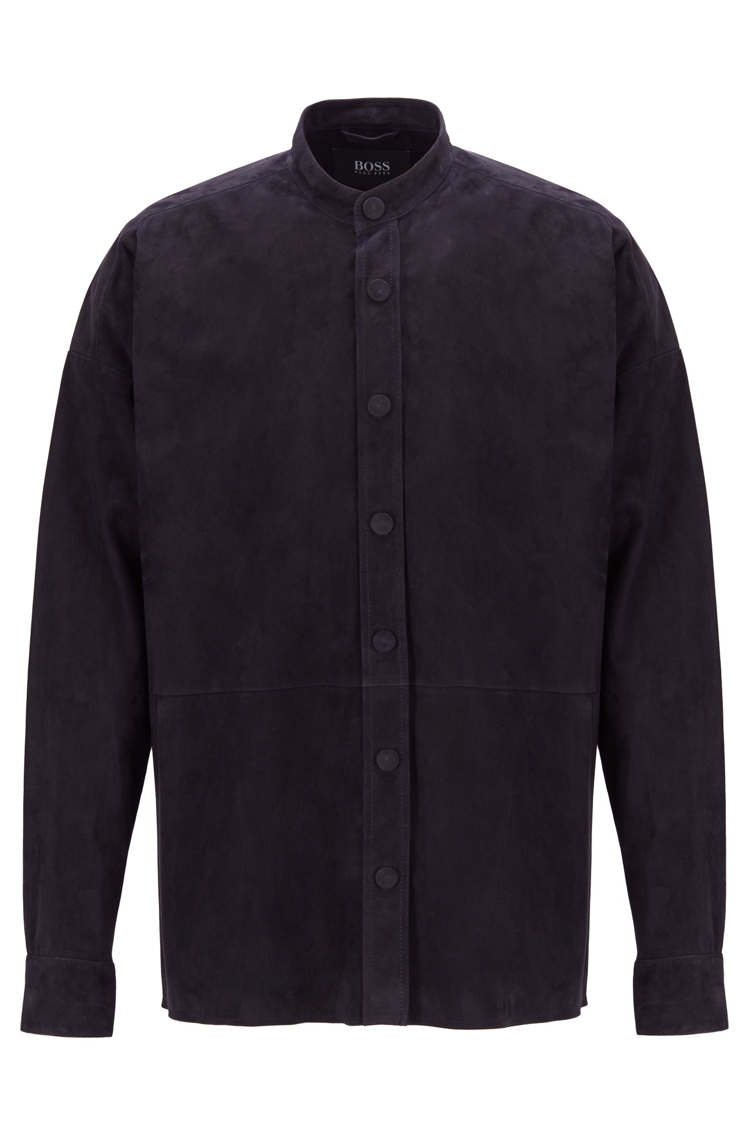 Fashion Show suede shirt with stand collar, Dark Blue