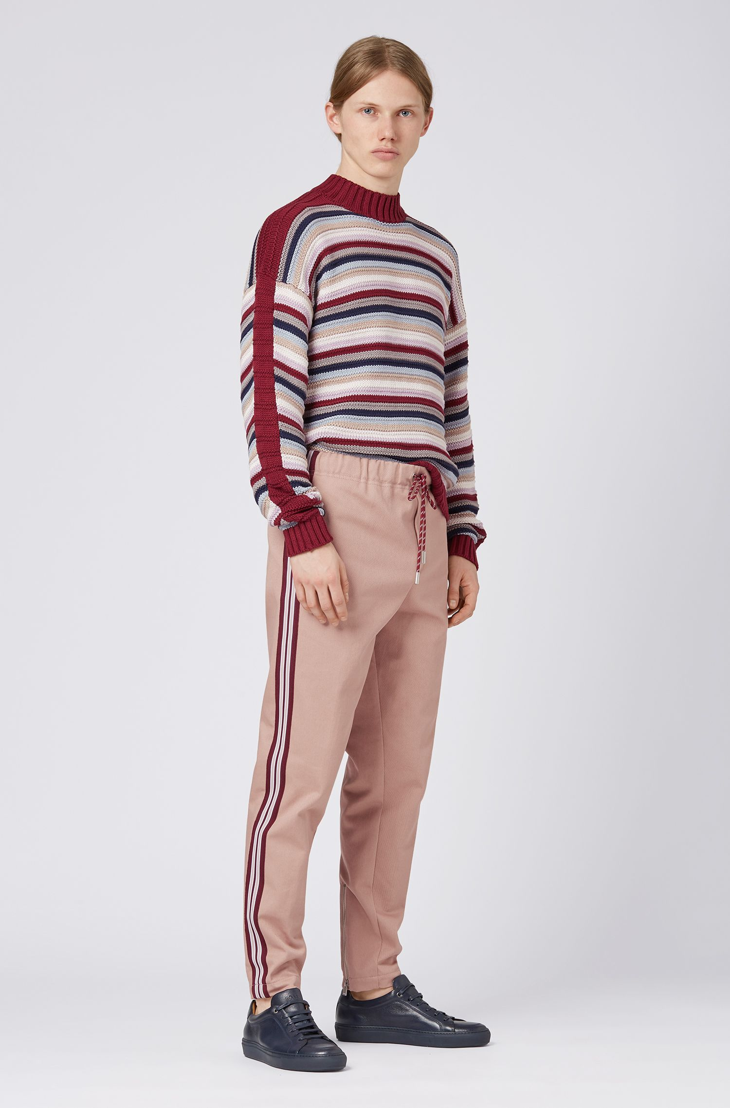 Fashion Show slim-fit pants with side-seam stripe, light pink