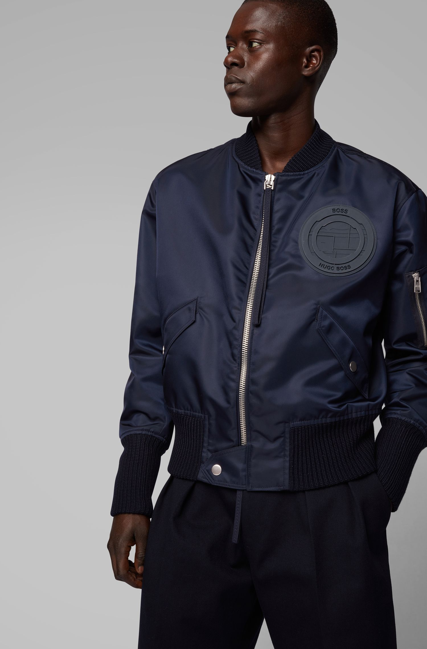 Fashion Show bomber jacket in twill with collection emblem, Dark Blue
